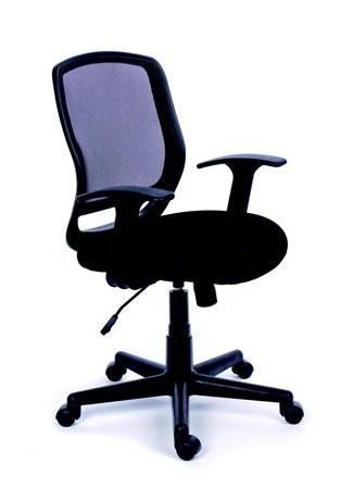bb69626664902 Kancelárska stolička, s opierkami , čalúnená, sieťové operadlo, čierny  podstavec, MaYAH