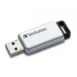 "USB drive, 64GB, USB 3.0, 100/35MB/sec, PC & MAC, VERBATIM ""SECURE DATA PRO"", sivá"